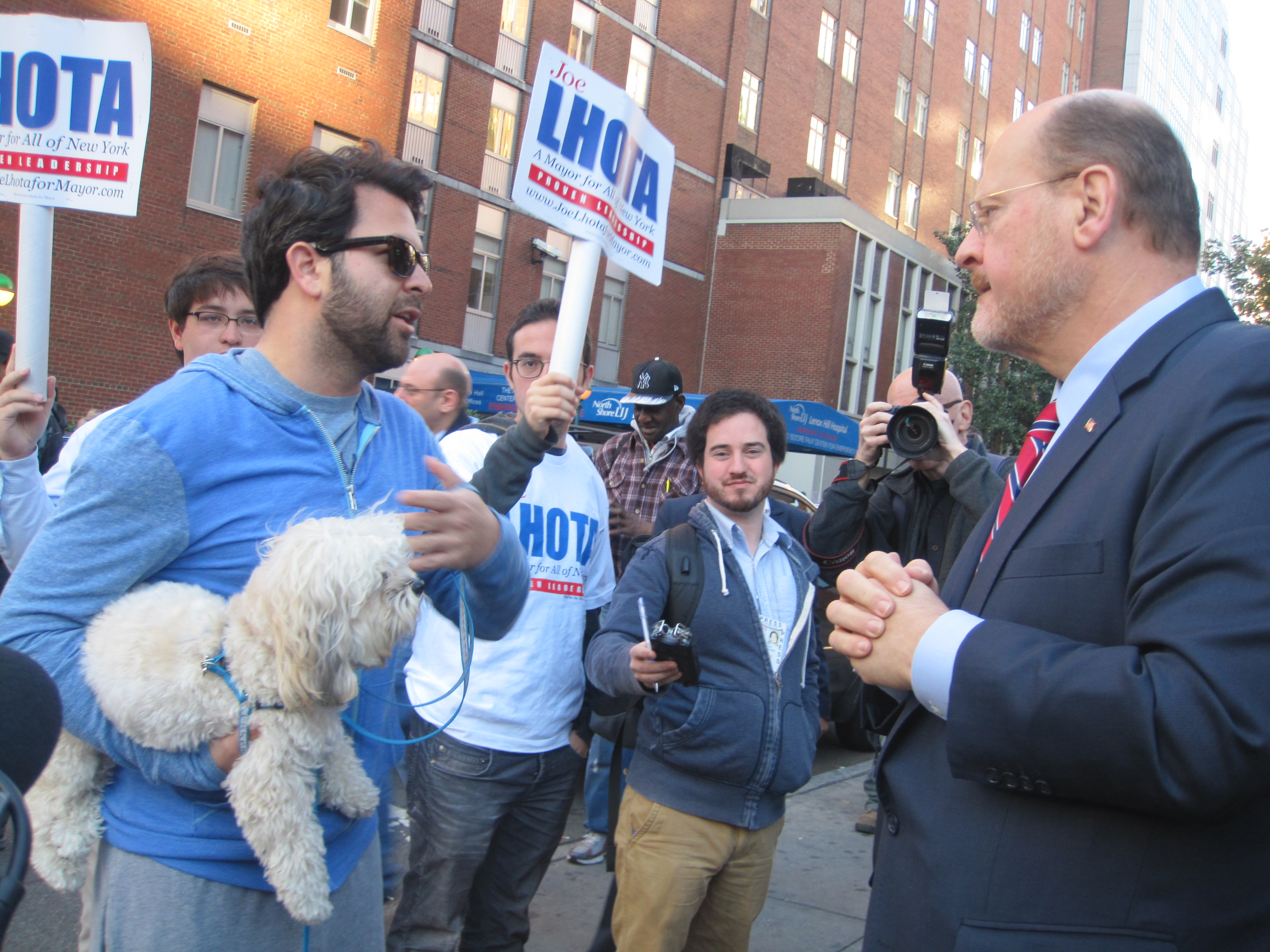 "Joe Lhota meets ""Little Dude"" on the Upper East Side."