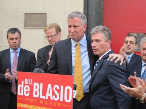 Bill de Blasio being endorsed by the Uniformed Firefighters Association.