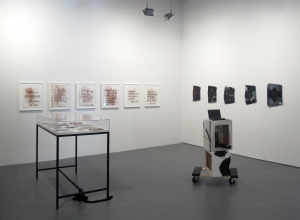 Installation view with 'Twitter' and 'Boyfriend' paintings in the background. (Courtesy White Columns)