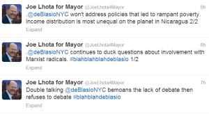 A small sampling of Joe Lhota's aggressive new tweets.