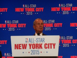 Mayor Michael Bloomberg at an NBA press conference today.