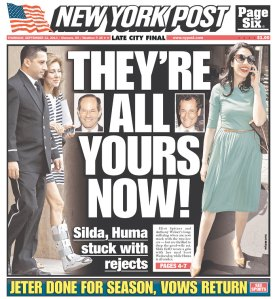 Today's New York Post jabs at Eliot Spitzer and Anthony Weiner's scandals again. (Photo: Newseum)