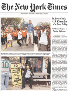 The front page of today's New York Times features two colorful mayoral photos.