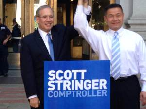 City Comptroller and unsuccessful mayoral candidate John Liu endorses city comptroller candidate Scott Stringer during an event today.