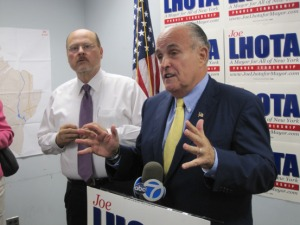 Rudy Giuliani campaigning with his former deputy, Joe Lhota.