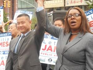 Comptroller John Liu and Councilwoman Tish James today.