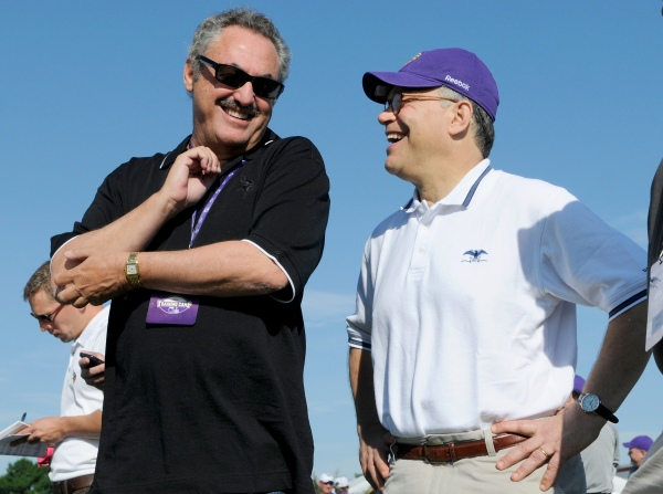 The Wilf family has donated generously to Minnesota politcians. Here, U.S. Sen. Al Franken visits the Vikings at training camp in 2011. (Photo by Hannah Foslien/Getty Images)