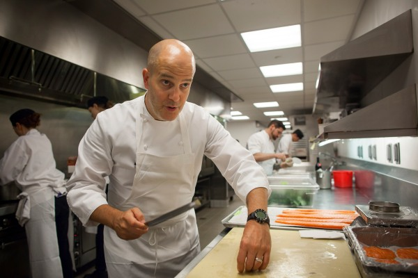 Jonathan Benno, in the kitchen at Lincoln Ristorante. (Photo: Michael Nagle)
