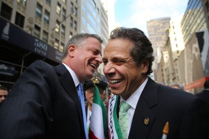 Bill de Blasio and Andrew Cuomo at the Columbus Day parade. (Photo: Getty)
