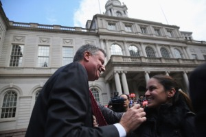 Bill de Blasio in front of City Hall last week. (Photo: Getty)
