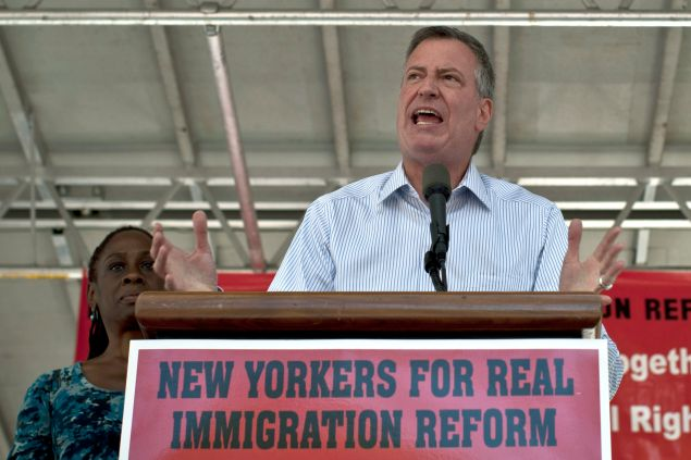 Mayor Bill de Blasio at an immigration reform rally.