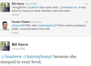 Tweets from Bill de Blasio's campaign manager, Bill Hyers, attacking reporters.