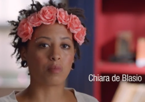 Chiara de Blasio in the ad.