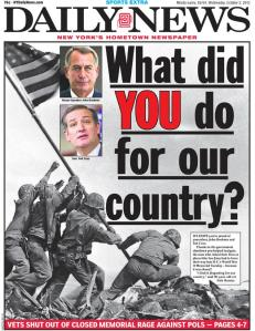 The Daily News has another cover critical of the shutdown.