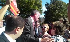 Bill de Blasio at today's parade.