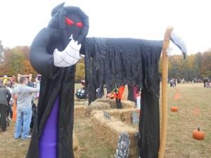 Joe Lhota compared this inflatable grim reaper to Bill de Blasio.