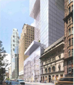 The community board decided that even at 291-feet up, a cantilever looming over a landmark is a cause for concern.