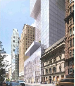 Extell's new tower will cantilever over the Art Students League at 215 West 57th Street.