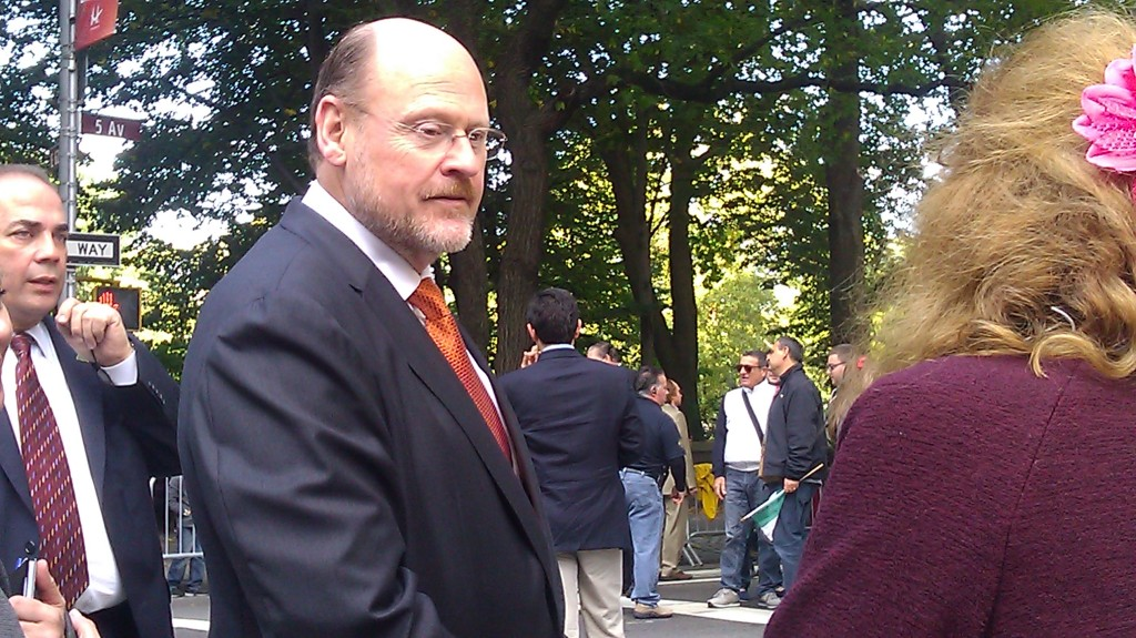 Joe Lhota greets a passerby during the Columbus Day Parade today.