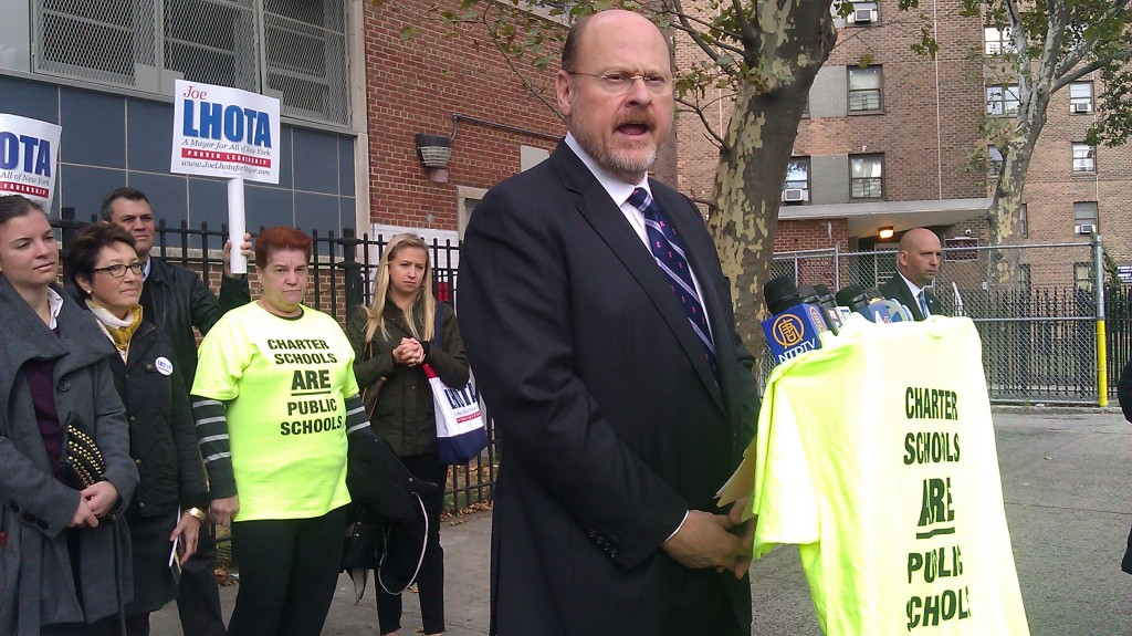 Lhota speaks outside a charter school in East Harlem during a press conference today.
