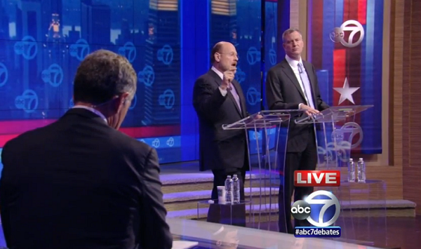 Joe Lhota and Bill de Blasio face off in their first televised debate.