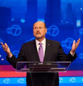 Joe Lhota expresses exasperation at last night's debate. (Photo: Getty)