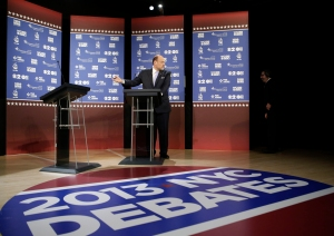 Joe Lhota gestures towards an empty podium last night. (Photo: Getty)