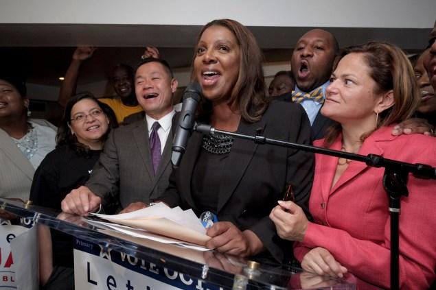Letitia James declares victory. (Photo: William Alatriste)