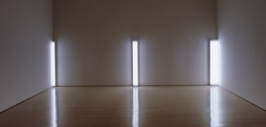 Dan Flavin, 'the nominal three (to William of Ockham),' 1963, from the Panza Collection. (Courtesy Guggenheim Museum)