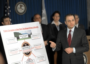 Preet Bharara announcing corruption charges in a separate case earlier this year. (Photo: Getty)