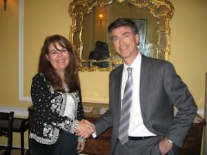 Bolivian Ambassador Maria Beatriz Souviron Crespo  and Christopher Marinello of the Art Loss Register. (Courtesy Art-Crime.Blogspot.com)