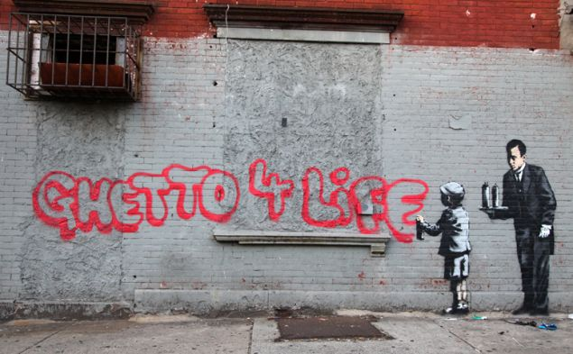 A work in The South Bronx by street artist Banksy, completed during his 2013 New York City residency.