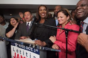 Tish James celebrating her win Tuesday night. (Photo: Facebook)