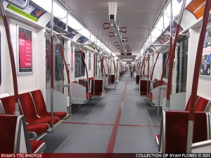 The interior of an articulated train in the Toronto subway. (flickr, Ryan Flores)