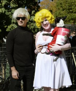 Contestants dressed as Andy Warhol and Marilyn Monroe and Warhol's Campbell Soup painting participate in the 23rd Annual Tompkins Square Halloween Dog Parade on October 26, 2013 in New York City.  (Courtesy Getty Images)
