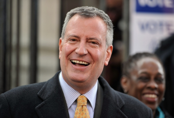 Mayor-elect Bill de Blasio. (Photo credit should read STAN HONDA/AFP/Getty Images)