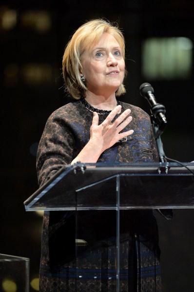 Hillary Clinton at Malaria No More's gala.