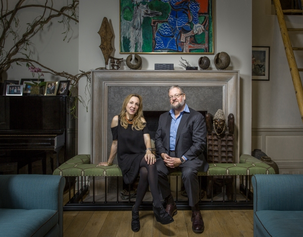 "Susan and Davis Rockefeller, in a cozy pose, met while working on ""This is Alaska"" film for the Alaska Conservancy."