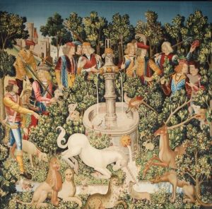 'The Unicorn Is Found' from the seven-part tapestry 'The Hunt of the Unicorn,' ca. 1495–1505. (Courtesy the Cloisters/Wikimedia)