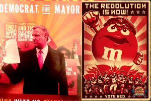Some have compared this pro-Bill de Blasio flier to communist propaganda.