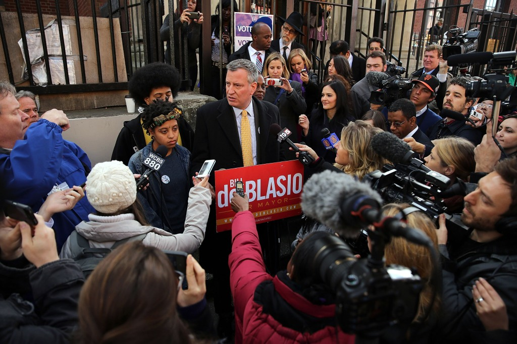 New York City Mayoral Candidate Bill De Blasio Casts His Vote