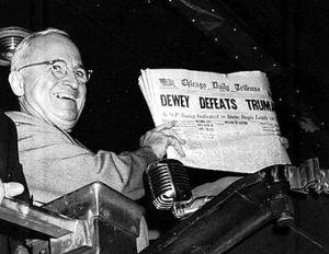 "The famous ""Dewey Defeats Truman""photo."