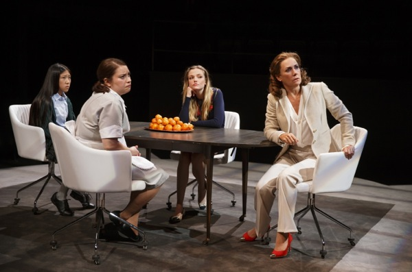 Misha Seo, Vanessa Aspillaga, Emily Meade and Laurie Metcalf, from left, in 'Domesticated.' (Photo by Joan Marcus)
