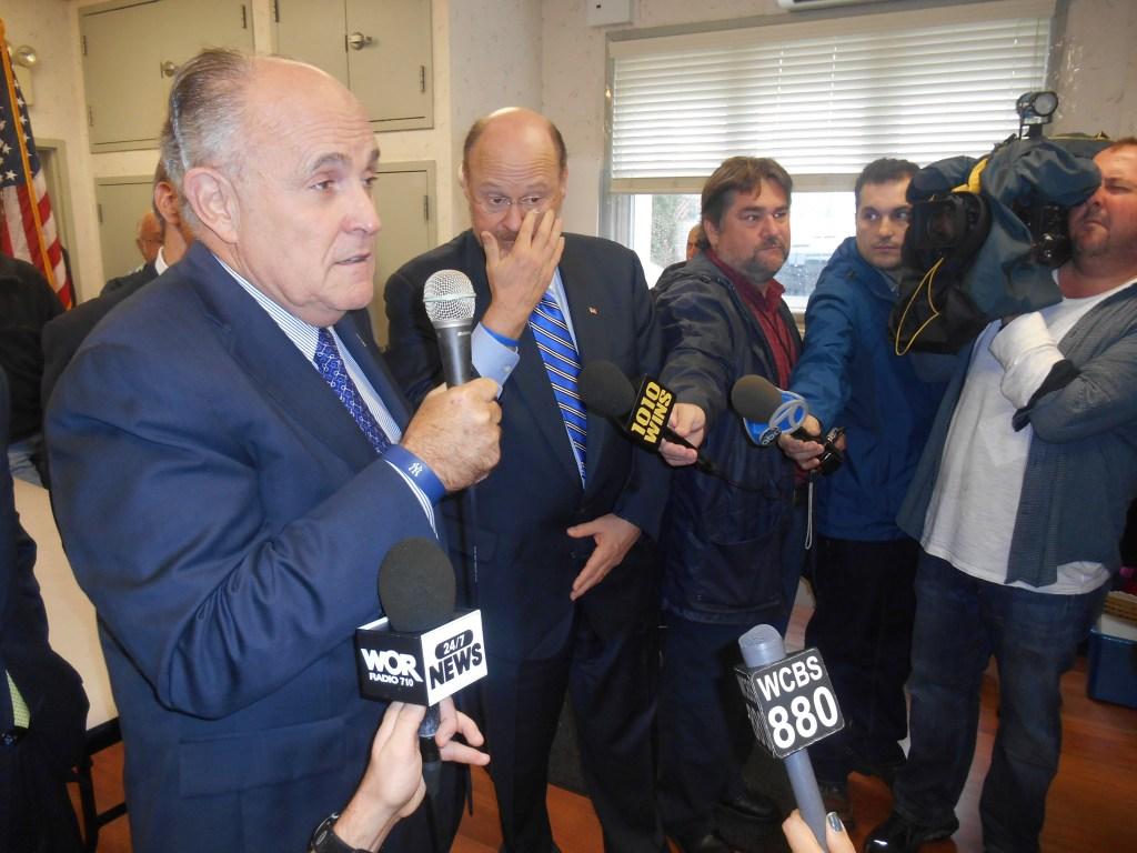 Former Mayor Rudy Giuliani in Staten Island today.