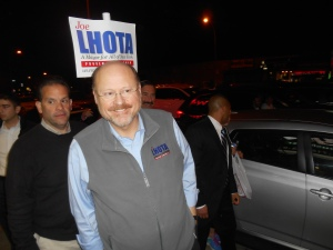 Joe Lhota tours Kew Gardens Hills last night.