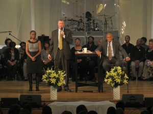 Bill de Blasio speaking at the First Corinthian Baptist Church.