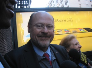 Joe Lhota answering questions from the press.