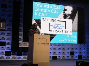 Letitia James speaking at the transition tent.