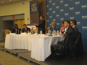 The candidates for City Council speaker at tonight's forum at Baruch College.