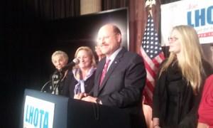 Joe Lhota gives his concession speech next to his family.